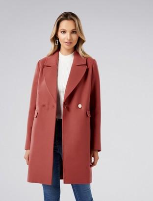 Forever New Amelia Crombie Coat - Rust - 4
