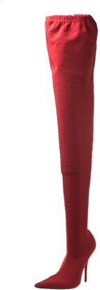 Balenciaga Red Stretch Fabric Knife Pointed Toe Thigh High Boots Size 40