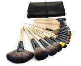 Roll up Case 24pcs Kit Professional Makeup Brush Set Cosmetic Brush Set Kit with Bag Black