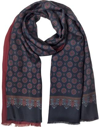 Forzieri Blue & Burgundy Modal & Silk Ornamental Print Men's Fringed Scarf