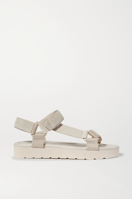 Vince Carver Leather, Suede And Canvas Platform Sandals - Off-white