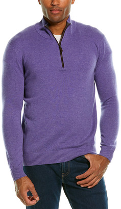 Forte Cashmere 1/4-Zip Suede-Trim Cashmere Mock Sweater