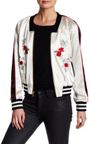 ABS by Allen Schwartz Luxe Satin Embroidered Bomber Jacket