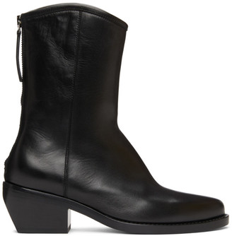 LEGRES Black Leather Western Boots