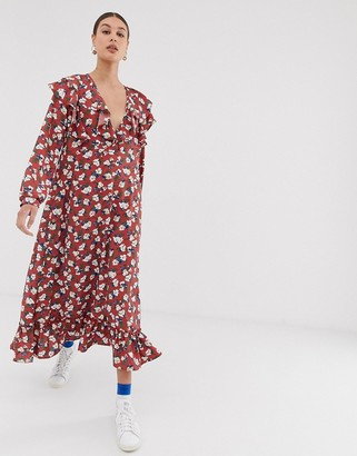 GHOSPELL oversized midi dress with ruffle hem and sleeves in floral print