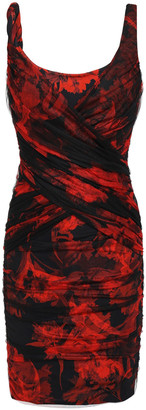 Roberto Cavalli Gathered Tulle-layered Floral-print Stretch-crepe Mini Dress