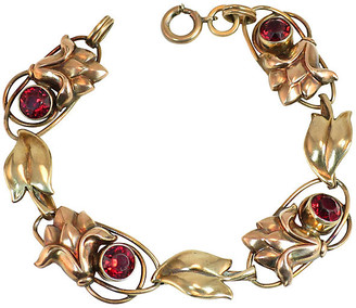 One Kings Lane Vintage 1930s Carl-Art Sterling Garnet Bracelet - Neil Zevnik - gold/red