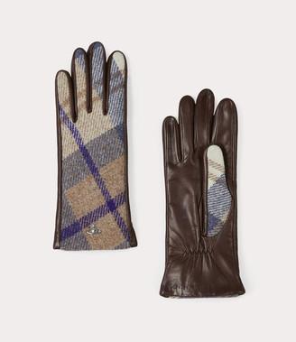 Vivienne Westwood Classic Long Gloves Brown Tartan