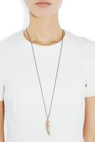Eagle Feather 18-karat rose gold diamond necklace
