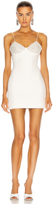David Koma Shimmer Bra Mini Dress in White & Silver | FWRD