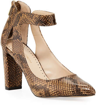 Adrienne Vittadini Nieves Snake-Print Leather Ankle-Strap Pumps