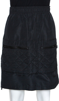 Chanel Black Quilted Silk Velcro Detail Skirt S