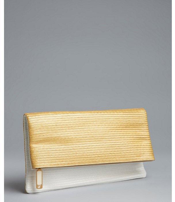 Fendi yellow and white straw foldover clutch