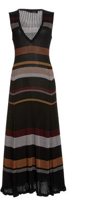 Proenza Schouler Striped Ribbed Knit Midi Dress