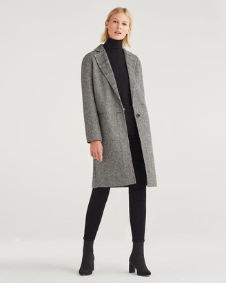 7 For All Mankind Houndstooth Wool Long Trench Coat