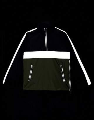 Brave Soul lightweight windbreak jacket with reflective pannel-Black