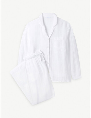 The White Company Long-sleeved relaxed-fit cotton pyjamas