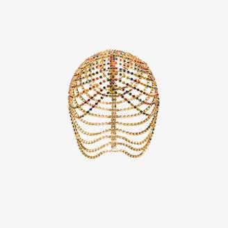 Area gold tone crystal chandelier headpiece