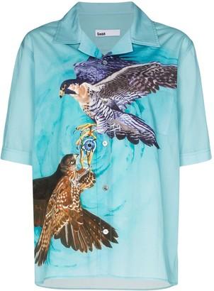 GmbH Luka falcon-print bowling shirt