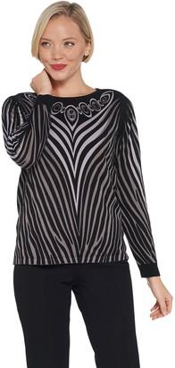 Bob Mackie Printed Sweater with Jeweled Neckline