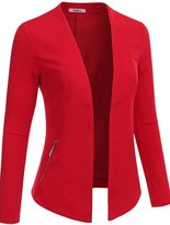 BodiLove Women's Long Sleeve Collarless Open Blazer Jacket With Zipper M (J288)