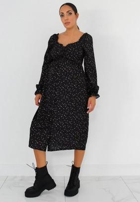 Missguided Black Ditsy Floral Maternity Milkmaid Midi Dress
