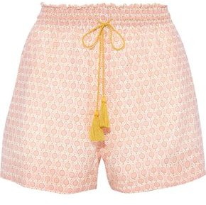 Talitha Collection Vera Printed Cotton And Silk-blend Shorts