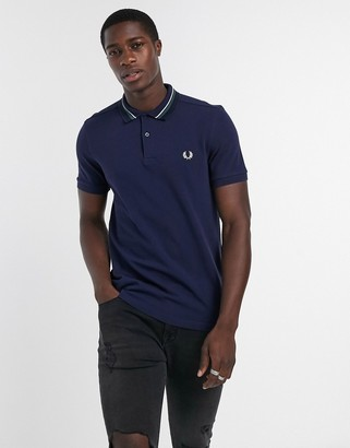 Fred Perry striped collar polo in navy
