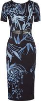 Suno Cutout printed stretch-silk crepe dress