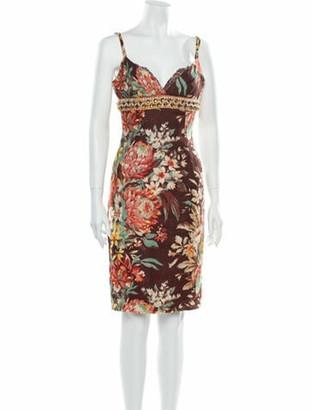 Dolce & Gabbana Linen Knee-Length Dress Brown