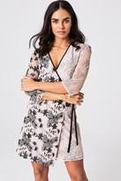Little Mistress Tabitha Mink Vintage Lace And Sequin Mini Wrap Dress