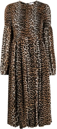 Ganni Leopard-Print Ruched Dress