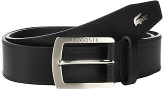 Lacoste Thick Buckle Belt (Black) Men's Belts