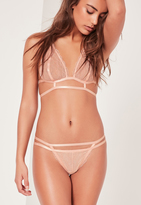 Missguided Nude Lace Caged Detail G-String
