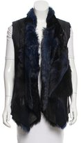 Donna Karan Shearling Patchwork Vest w/ Tags