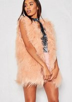 Missy Empire Natalia Pink Faux Fur Gilet