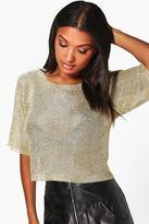 Boohoo Charlotte Short Sleeve Metallic Knit Top