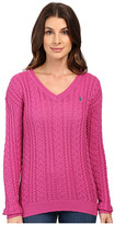 U.S. Polo Assn. Solid V-Neck Cable Knit Sweater