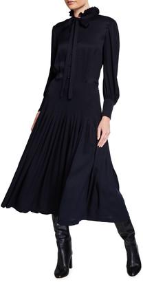 Saint Laurent Ruffle-Neck Pleated Silk Midi Dress