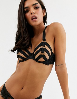 Hunkemoller Sugar strappy ringed underwire bra in black