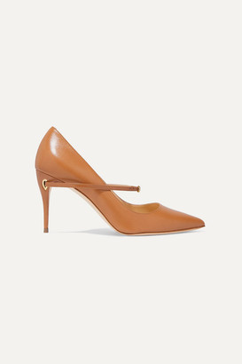Jennifer Chamandi Lorenzo 85 Leather Pumps - Camel