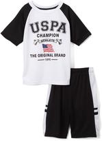 U.S. Polo Assn. White Logo Tee & Mesh Shorts Set - Infant Toddler & Boys