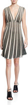 M Missoni Metallic Stripe V-Neck Sleeveless A-Line Dress