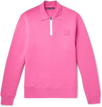 Acne Studios Logo-Appliqued Fleece-Back Cotton-Jersey Half-Zip Sweatshirt