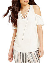 I.N. San Francisco Cold-Shoulder Ruffle Sleeve Lace-Up Ladder Trim Top