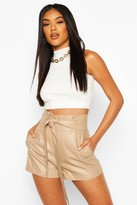 boohoo Leather Look Paperbag Waist Shorts
