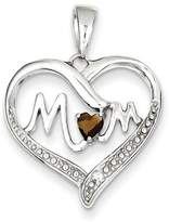 1928 Gold and Watches Sterling Silver Smokey CZ Mom Heart Pendant