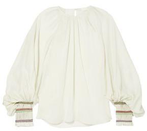 Chloé Braid-trimmed Gathered Silk-gauze Blouse