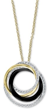 "Effy Diamond (1/2 ct. t.w.) & Onyx (2-1/5mm) 18"" Pendant Necklace In 14k Multi Gold"