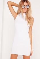 Missguided Petite High Neck Ribbed Mini Dress White